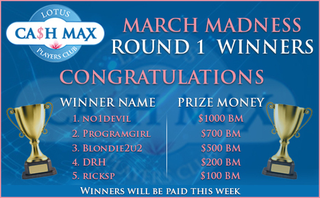 Congratulations to the winners of Round 1. | Lotus Group of Online Casinos | Scoop.it