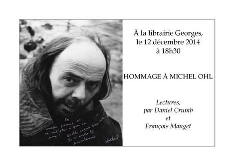Hommage à MICHEL OHL. Lectures par D. Crumb et F. Mauget à la librairie Georges (Talence) le 12 déc. | Poésie Elémentaire | Scoop.it