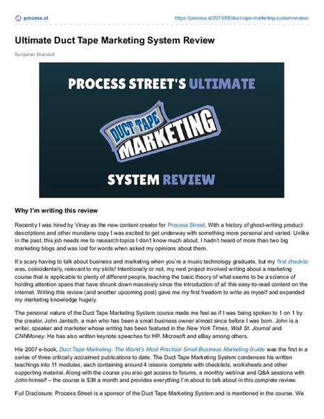 Ultimate Duct Tape Marketing System Review | Business Process Management | Scoop.it