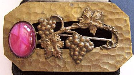 "Vintage Victorian Pink Star Sapphire Brooch Hammered Gold Metal Grape Design BIG 3"" C Clasp | vintage jewelry | Scoop.it"