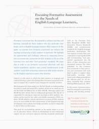 Focusing Formative Assessment on the Needs of English Language Learners — WestEd | Formative Assessment | Scoop.it