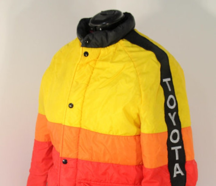 Vintage Retro 1970s Toyota Dealer-Only Coat Red Yellow Orange & Black Auto Racing Motorcycles Cars Mid-Century Automobilia | Antiques & Vintage Collectibles | Scoop.it