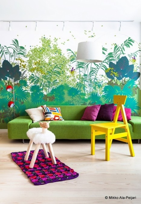 """A vibrant and colourful interior design for Finnish penthouse apartment 