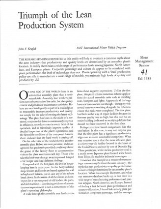 """The Term """"Lean Production"""" is 25 Years Old – Some Thoughts on the Original John Krafcik Article 