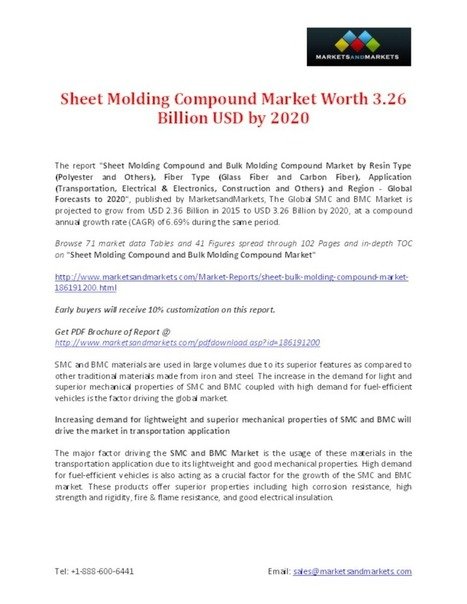 Sheet Molding Compound and Bulk Molding Compound Market Worth 3.26 Billion USD by 2020 - PdfSR.com   Market Research Reports   Scoop.it