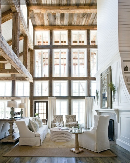Rustic wood and stone married with crisp white | Lakeside Leisure | Interior design | Scoop.it