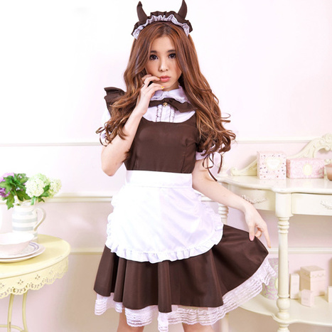 Puff Sleeves Cosplay Cafe Maid Apron Dress for Women   Favorite Costumes   Scoop.it