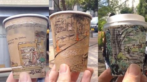 Illustrator creates stunning panoramic views on his coffee cups ! | Coffee News | Scoop.it