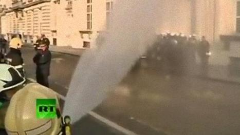 Striking Belgian firefighters hose down the cops | The Raw Story | Occupy Belgium | Scoop.it