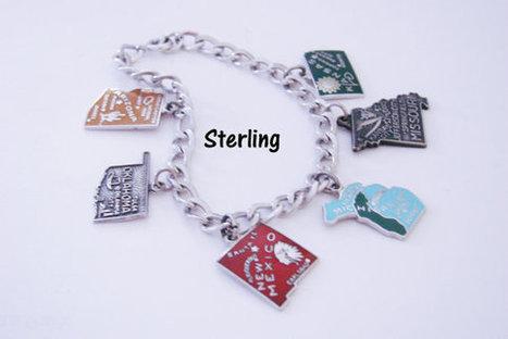 Vintage Sterling Enamel Charm Bracelet / United States / Michigan / Missouri / Arizona / Oklahoma / New Mexico / Kansas | Vintage and Antique Jewelry & Fashion | Scoop.it