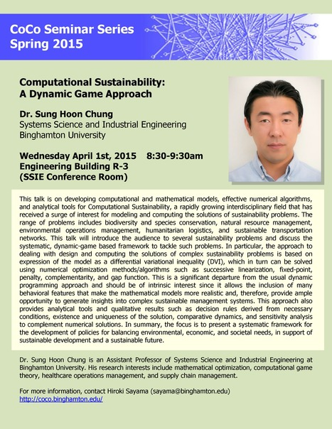 Next CoCo seminar by Sung Hoon Chung on April 1st | Center for Collective Dynamics of Complex Systems (CoCo) | Scoop.it