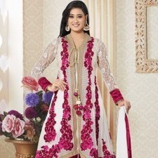 Off White Pure Georgette Shweta Tiwari Salwar Kameez | Strollay.com | Scoop.it