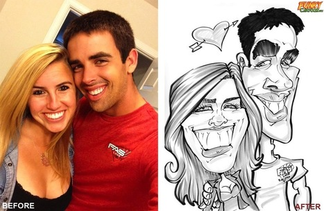 Our latest caricature Honeymoon Black & White Couple Caricature | Custom Caricatures | Scoop.it