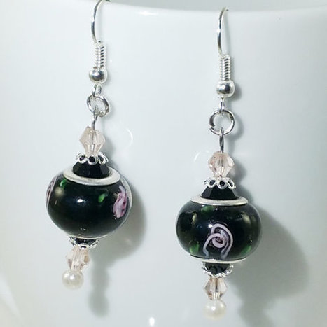 European Bead Silver Dangle Drop Earrings Handmade Black Lampwork, Murano and crystal glass beads | English Learning House | Scoop.it