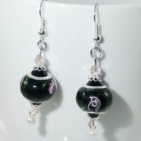European Bead Silver Dangle Drop Earrings Handmade Black Lampwork, Murano and crystal glass beads | English Learning House | Scoop.it