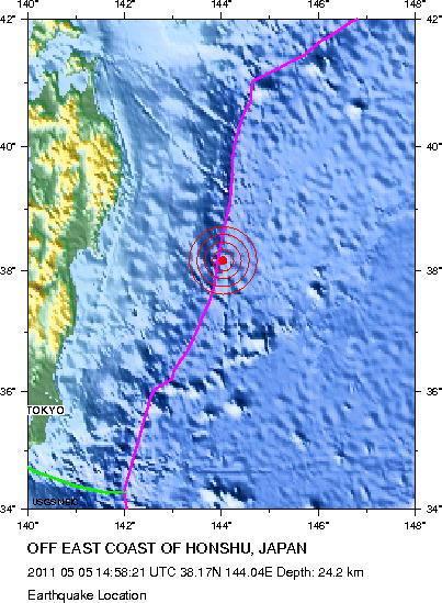Magnitude 6.1 Earthquake Location: OFF EAST COAST OF HONSHU, JAPAN May 05, 2011 at 14:58:21 UTC | Japan Tsunami | Scoop.it