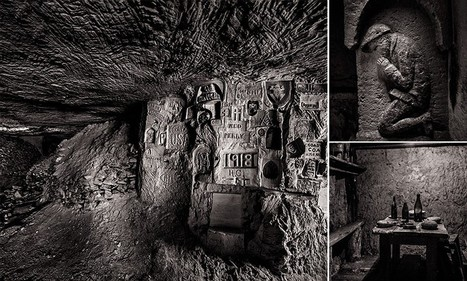 Voices from the depths of hell: Photos show messages of love, faith and patriotism carved into walls of vast network of tunnels where men lived and died during the First World War | British Genealogy | Scoop.it