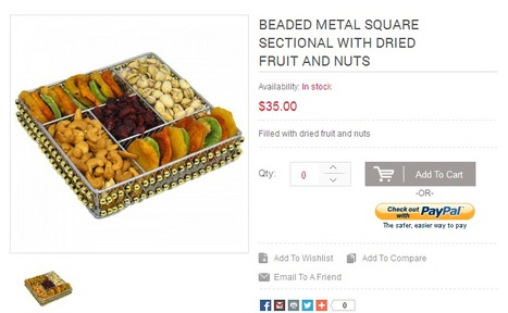 Beaded Metal Square Sectional with Dried Fruit and Nuts | Buy Rosh Hashanah fruits | Scoop.it