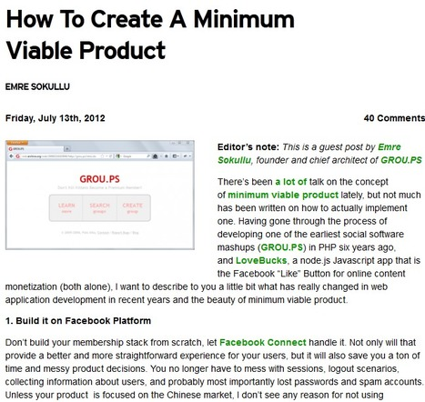 How To Create A Minimum Viable Product | TechCrunch | Startup tips | Scoop.it