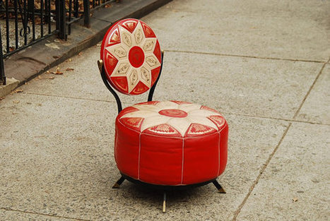Mid-Century Red Leather Pouf Chair | Vintage Living Today For A Future Tormorrow | Scoop.it