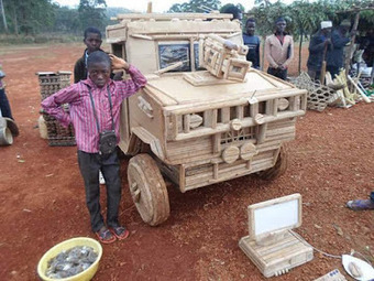 Photos : Meet The Young African Who crafted A Land-Rover And A Laptop From Wood - Tiwa's Blog | Afrodizziak | Scoop.it