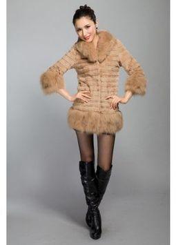 Women's Furs :: Fur Coats :: Rabbit :: Fox Fur Trim Horizontal Rabbit Coat With Shawl Collar - | furs | Scoop.it