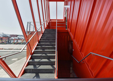 Angled shipping container houses STAIRS for office by Potash | The Architecture of the City | Scoop.it