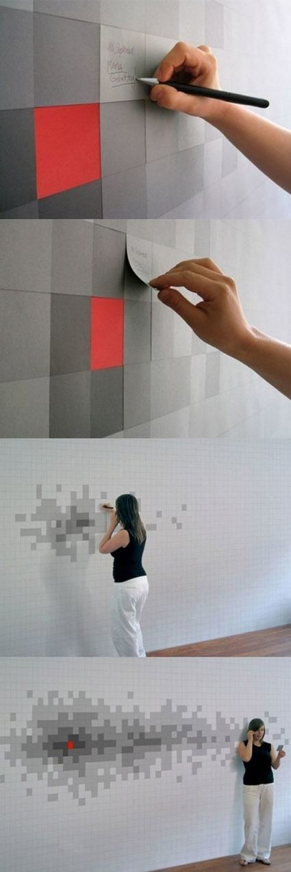 #Pixilated sticky note wall/art | Design Ideas | Scoop.it