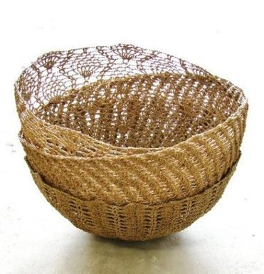 Crocheted Hemp Baskets
