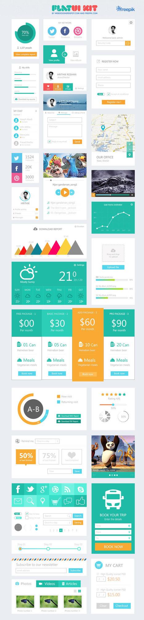 Flat UI Kit (free download!)   Website Graphic Design, UI and UX   Scoop.it