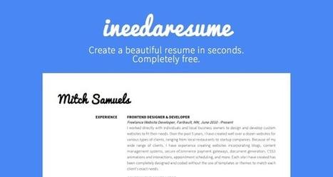 ineedaresu.me - Beautiful free resume creator | Àrea de treball - Infojove | Scoop.it