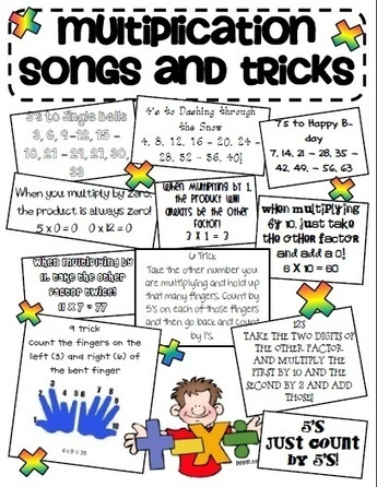 Multiplication Tricks Sheet!! I remember learning these multiplication songs, and I plan on teaching them to my students in the future. It is a great way to integrate music into math, and this will... | A Combination of Multiplication and Differentiation | Scoop.it