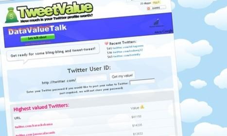 Tweetvalue : Combien vaut votre compte Twitter ? | formation reseaux sociaux, internet, logiciels | Scoop.it