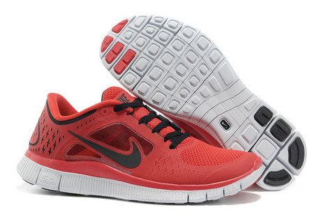 Nike Free Run 3 University Red Pure Platinum Black-Mens | my style | Scoop.it