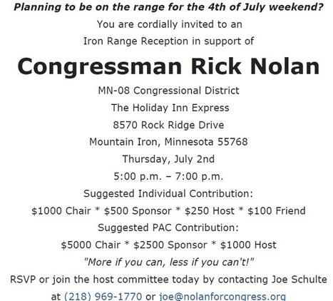 Rick Nolan holds high-dollar fundraiser on the Iron Range as hundreds lose jobs   Iron Country Free Press   Biidaajimowin Baakiiginigan   Scoop.it