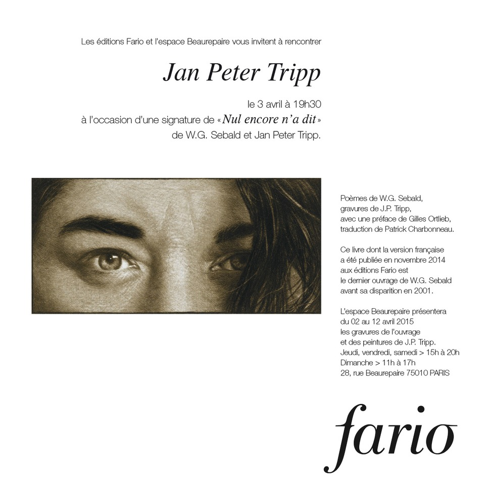 [agenda] 3 avril, Jan Peter Tripp, Paris | Poezibao | Scoop.it
