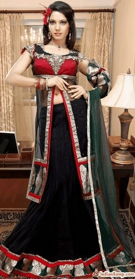Gorgeous Red Choli with Black Fish Cut Lehenga for Women – PartyWear | Indian Fashion Updates | Scoop.it