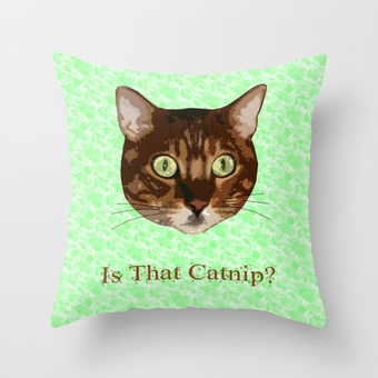 Catnip Crazed Cat Throw Pillow by FlaminCat Designs | New From Society6 | Scoop.it