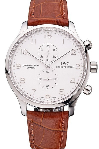 Replica IWC Portugieser Chronograph White Dial Steel Hands And Numerals Stainless Steel Case Brown Leather Strap-$285.00 | Men's & Women's Replica Watches Collection Online | Scoop.it