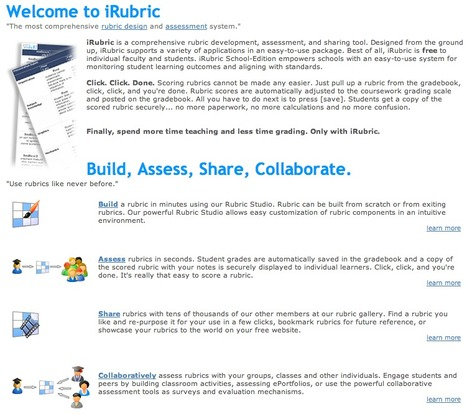 iRubric: Home of free rubric tools | Assessment Resources | Scoop.it