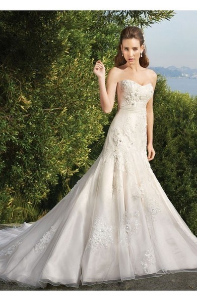Sheath Chapel Trailing Satin And Organza Beadings White Lace Up Back Wedding Dresses at 199dresses | wedding dresses collection | Scoop.it