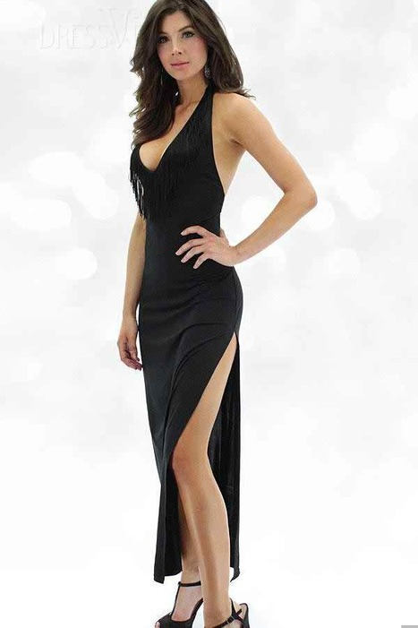 Sexy Showgirl Fringe Benefits Black Maxi Gown   Dressve fashion   Scoop.it