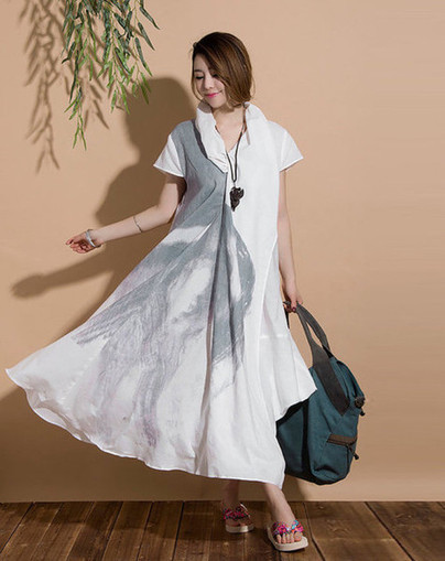 Irregular stack white collar personality casual linen abstract ink dye Short-sleeved dress | Ladies Fashion | Scoop.it