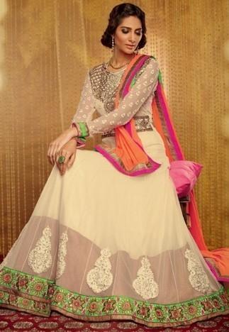 Cream Georgette Chuddidar Kameez with Dupatta SRT2568 - Salwar Kameez | Desi Butik | Online Sarees shopping Store in India | Scoop.it