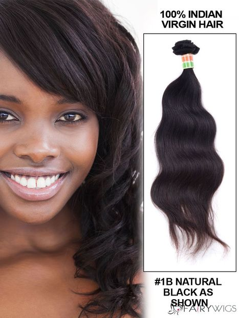 """12""""-30"""" Body Wave Indian Remy Hair Extension Weft - Natural Black : fairywigs.com 