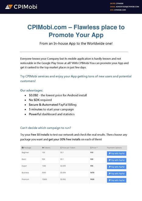 CPIMobi.com - Promote your Android & iOS Apps at the lowest price! | ferelrew | Scoop.it