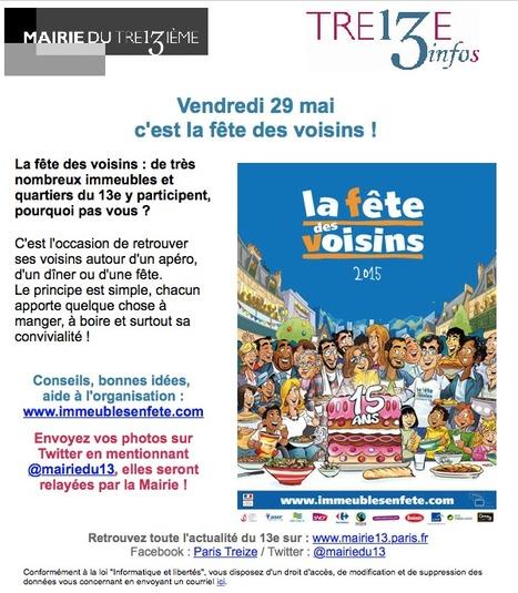 Paris Mairie du 13e : Vendredi 29 ma c'est la FÊTE des VOISINS ! | Le BONHEUR comme indice d'épanouissement social et économique. | Scoop.it