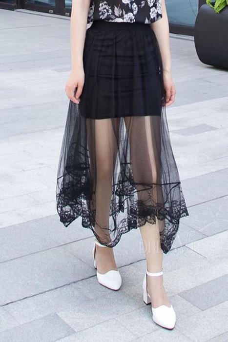 Elastic Waist Mesh Asymmetrical Hem Skirt   Dressve fashion   Scoop.it