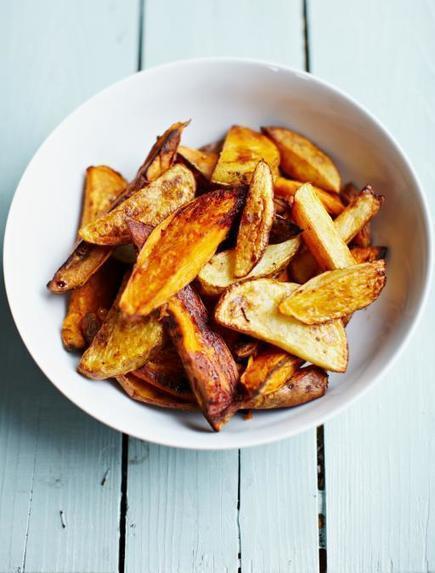 Smoky mixed-potato wedges | Jamie Oliver | Food | Jamie Oliver (UK) | My Vegan recipes | Scoop.it