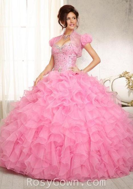 Crystal Beaded Ruffled Pink Organza Strapless Quinceanera Dress | Cheap Prom Dresses | Scoop.it